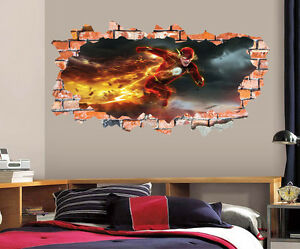 The Flash Wall Decal Smashed Wall Art Sticker Home Decor Kids Mural
