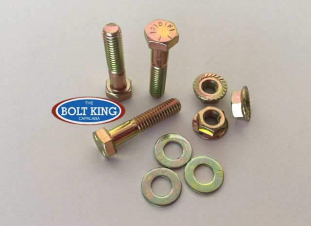 3/8 x 1-1/2 UNC Hex Bolt Zinc Yellow High Tensile grade8 Kit 10 bolt/washer/fnut
