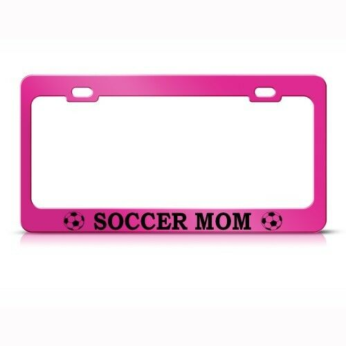 SOCCER MOM Metal License Plate Frame Tag Holder