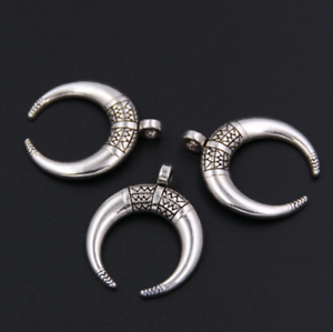10pcs Antique Silver Ox Horn Moon Charms Pendants for Jewelry Making 34x27mm