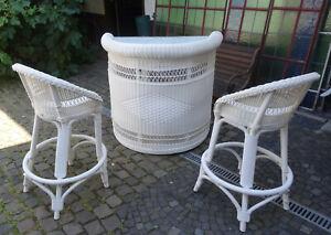 DEDON Design HULARO Exklusive Gartenmöbel Bar Theke und 2 Barhocker Stühle