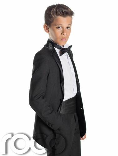 13 years Boys Black Tuxedo with Cummerbund /& Dickie Bow Tie Age 12 months