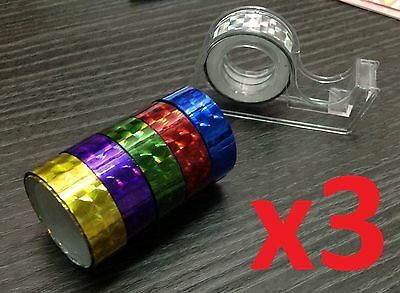 3 SETS of 6 Color Holographic Iridescent TAPE Colour Fluorescent Crystal Glitter