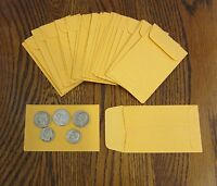 """75 KRAFT COIN ENVELOPES #1 SIZE 2.25"""" BY 3.5"""" WITH GUMMED FLAP SMALL SEED CHANGE"""