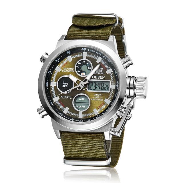 OHSEN Mens Military Army Digital Nylon Canvas Band Sport Watch Quartz Green Dial