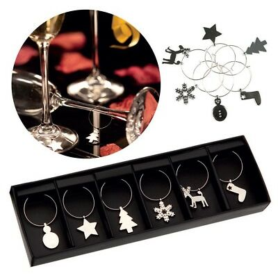 6 WINE GLASS METAL CHARMS / CHRISTMAS MARKERS - SECRET SANTA - TABLE DECORATION
