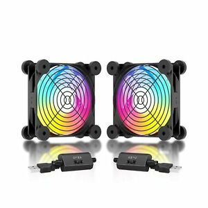 upHere 120mm Rainbow LED Quiet USB Powered Fans 5V Computer Cooling Fan with ...