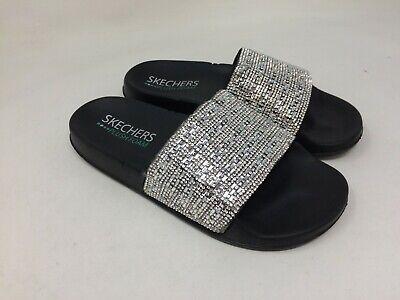 New w Defect Womens Skechers 32376 Pop Up Perfect Summer Slide Sandal Black A48