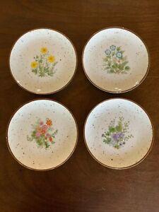 Vintage-Otagiri-Japan-Decorative-Speckled-Flower-Salad-Plates-Daisy-Wildflower