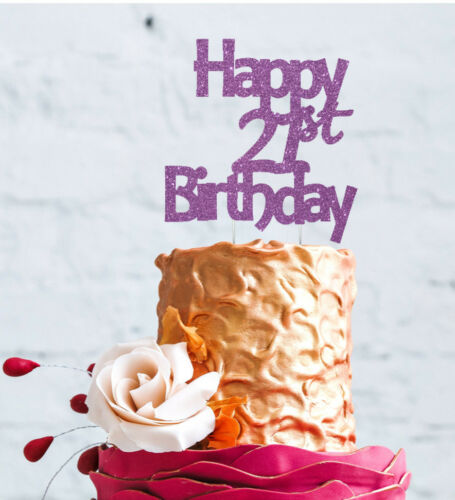 Glittery Light Purple Twenty One Cake Topper Happy 21st Birthday Cake Topper