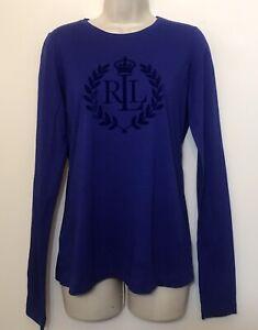 Lauren Ralph Lauren Small Shirt Blue Purple Long Sleeve Suede Logo detail Top
