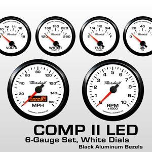 C2-6-Gauge-Set-White-Dials-Black-Bezels-73-10-Ohm-Fuel-Level-2268BLK