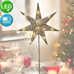 LED Stern Weihnachts Tisch Steh Lampe silber X-MAS Stand Leuchte Advent Deko