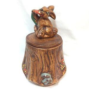 VTG-Cookie-Jar-California-Original-Ceramics-Tree-Stump-Rabbit-Carrot-2620-1-2-3