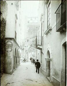 Italia Sicilia Taormina la Rue c1900, Foto Stereo Vintage Placca VR7L2