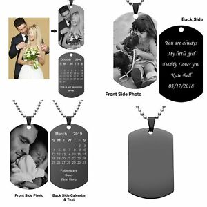 Text-Engraved-Photo-Word-Dog-Tag-Pendant-Necklace-Steel-Valentine-039-s-Day-Gift