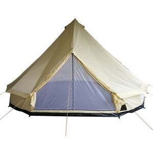 16-4-039-Large-Family-Tent-Teepee-Bell-Tent-for-Camping-in-All-Seasons-Beige