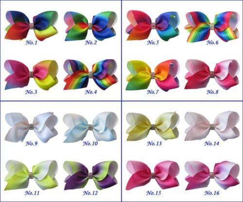 "50 BLESSING Good Girl Boutique 3.5/"" Rainbow ABC Hair Bows Clip Accessories"