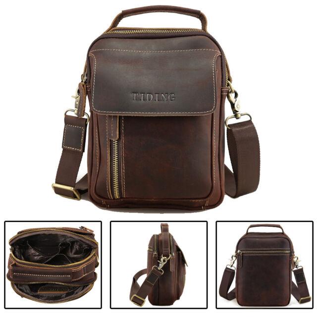 9747b9a24535 Gift Genuine Leather Men Vintage Shoulder Messenger Crossbody Sling Bag  SATCHEL