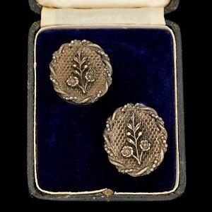 Antique-Vintage-Deco-Sterling-Silver-Floral-Flower-Textured-HUGE-Womens-Earrings