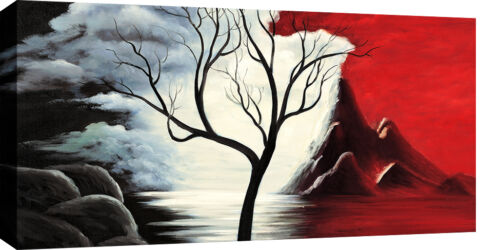 """Large Wide Red Black White Tree Landscape Painting Box Canvas 40/""""x20/"""" 3cm frame"""