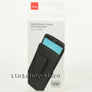 Verizon Hard Shell Kickstand Snap Case w/Holster Belt Clip Combo for LG G4 Black