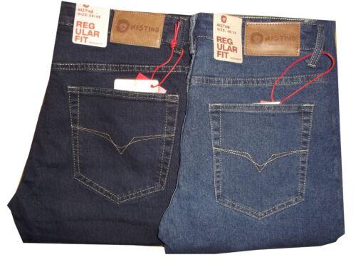 jeans uomo elasticizzato taglie forti vita alta dritto blu azzurro denim 46 a 64