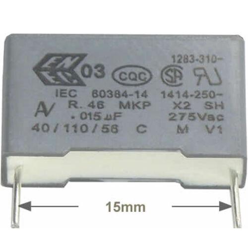 4 St Entstörkondensator AV MKP X2 0,015µF 15nF 275//300VAC RM15 Rohs konform