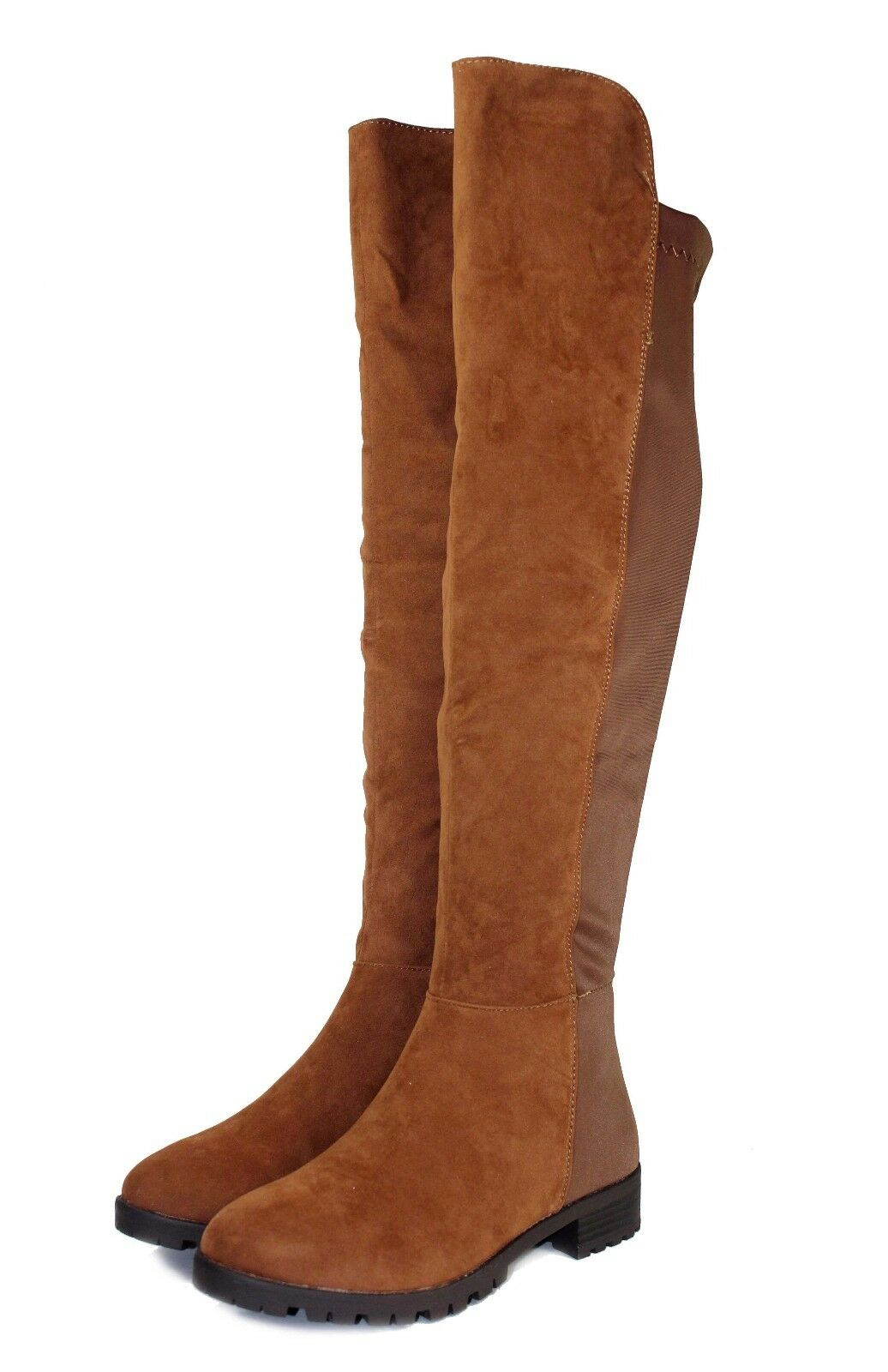 Fifty-50 New Fashion Over Knee Zipper Casual Women's Low Heel Suede Boots Tan