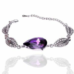 UK-Ladies-Elegant-Silver-plated-purple-Rhinestone-Bracelet-Bangle-Jewellery-1176