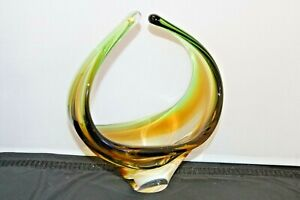 Vintage Murano Sommerso Clear & Orange Solid Art Glass Vase Dish Curved 20cm Big
