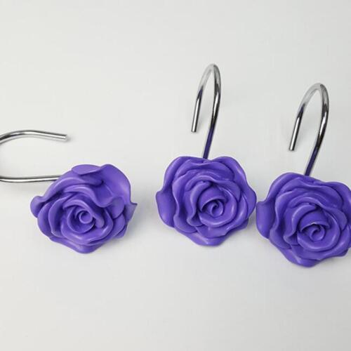 12 Pcs New Rose Flower Resin Floral Rolling Shower Curtain Hooks Rings Decor J