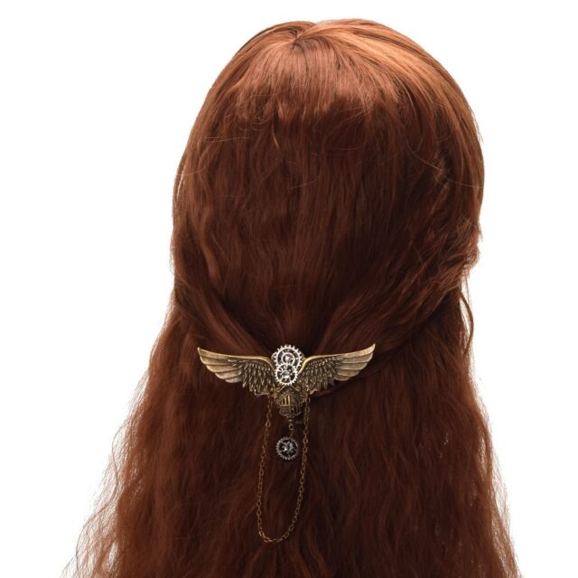 1pc New Girls Steampunk Gear Wing Hairclip Vintage Medieval Victorian Brooch