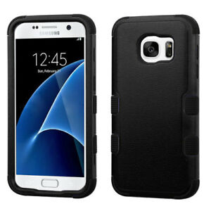 For-Samsung-GALAXY-S7-Thin-Hybrid-Slim-Rubber-Hard-Protective-Black-Case-Cover