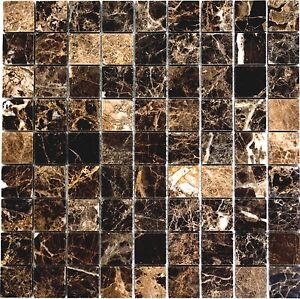 Das Bild Wird Geladen Mosaik Fliese Marmor Impala Braun Poliert Wand Boden