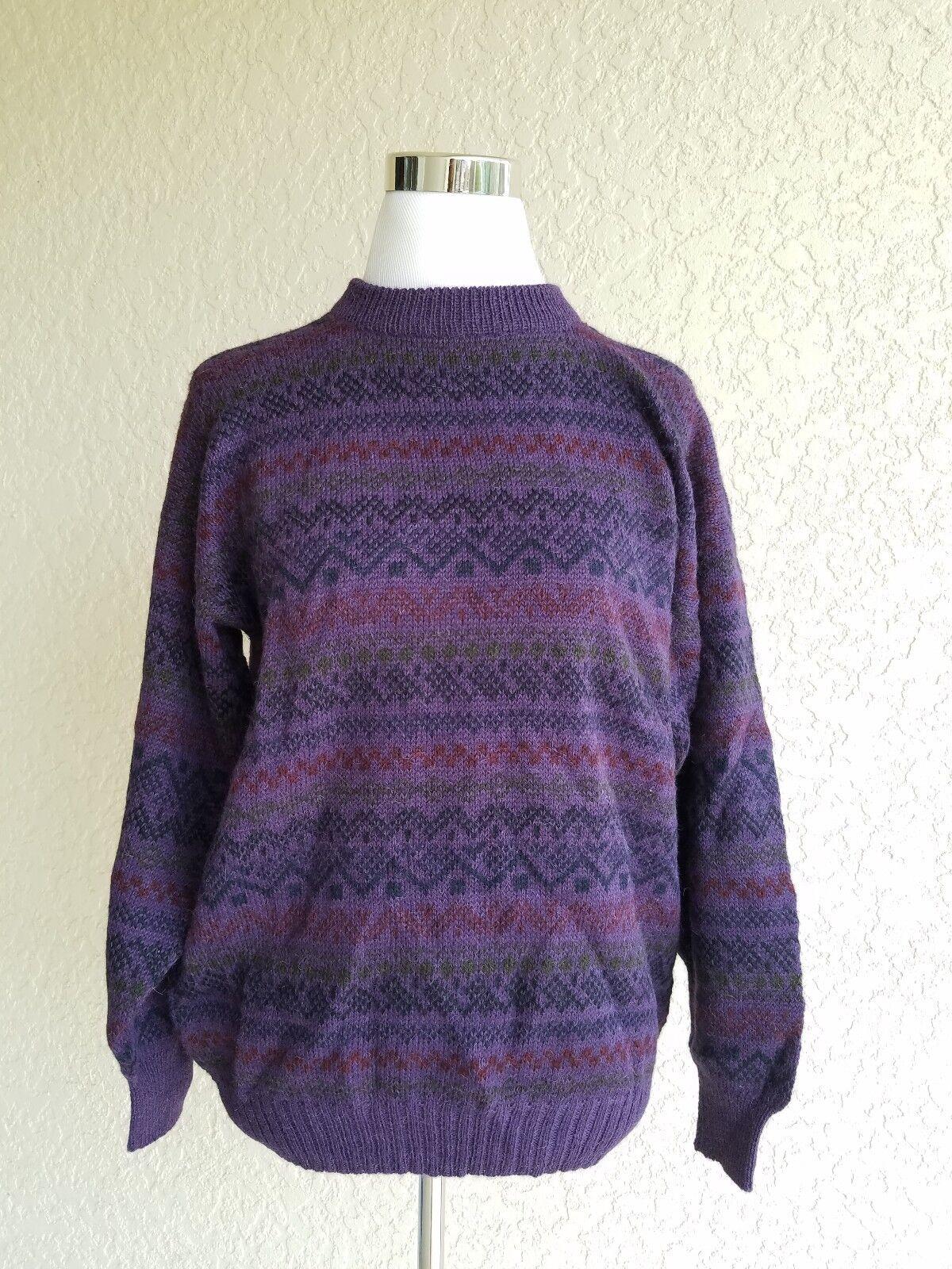 Matices De Los Andes Women sweater 100% baby alpaca purple lama geometric