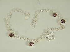 ANKLE BRACELET:  BUTTERFLY AND PURPLE CRYSTALS 10.5 INCHES 925 STERLING SILVER