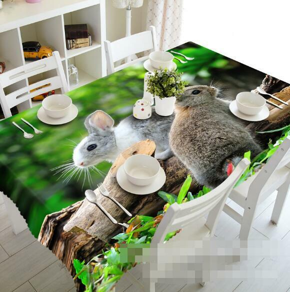 3D Rabbits 53 Tablecloth Table Cover Cloth Birthday Party Event AJ WALLPAPER AU