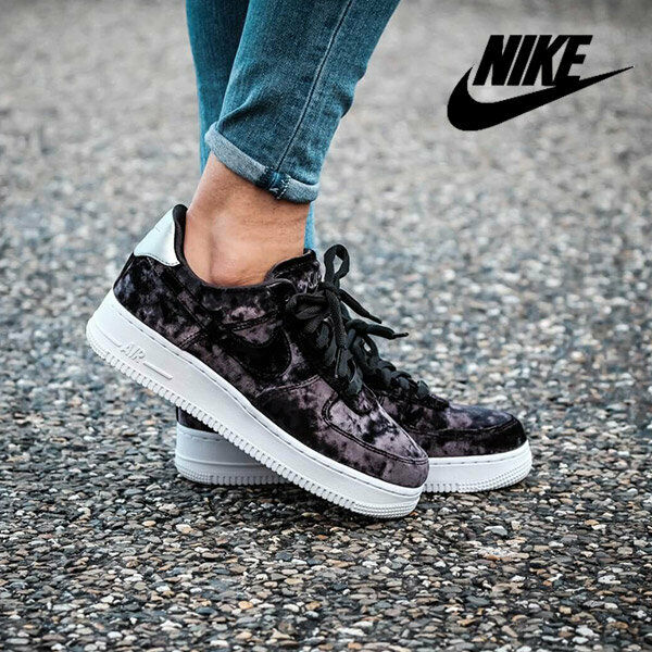 WOMENS NIKE AIR FORCE 1 '07 PRM ,,VELVET'' SIZE 7 EUR 41 (896185 003) BLACK