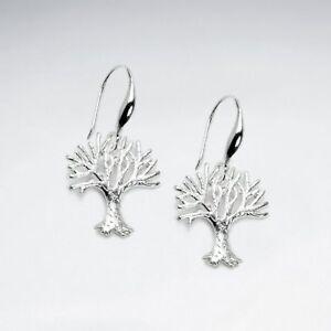 Sterling-Silver-Polished-Tree-of-Life-Dangle-Hook-Earrings