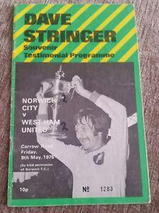 Norwich City v West Ham United Dave Stringer Testimonial Programme 090575 - <span itemprop=availableAtOrFrom>Nuneaton, United Kingdom</span> - Norwich City v West Ham United Dave Stringer Testimonial Programme 090575 - Nuneaton, United Kingdom