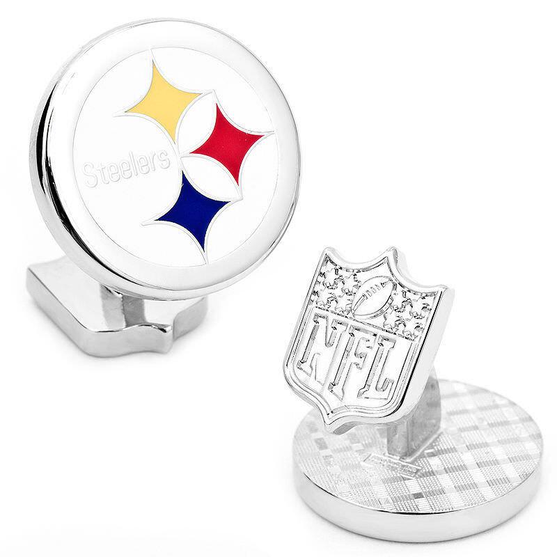 Pittsburgh Steelers NFL Palladium Manschettenknöpfe Neu in Geschenkbox 52%Off