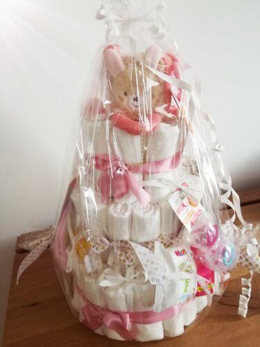 ♥ XXL Windeltorte Geschenk zur Geburt Taufe Babyparty Babyshower Mädchen Junge ♥