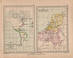 Carte Angleterre Pays Bas.Details Sur 1899 Victorien Decouvertes Carte Historique De L Angleterre Espagne Xvie C Pays Bas Afficher Le Titre D Origine