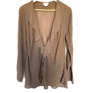 VINTAGE-GHOST-Asymmetric-Blush-WATERFALL-JACKET-Top-Cardigan-Large