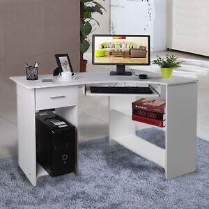 Eckschreibtisch weiß hochglanz  Eckschreibtisch Weiß Hochglanz - PC Tisch Arbeitstisch Computer ...