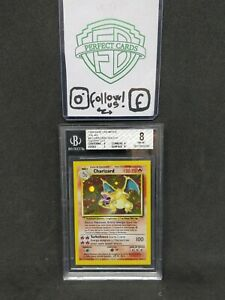 POKEMON-SET-BASE-UNLIMITED-CHARIZARD-HOLO-4-102-BGS-8-ITA-SQUARE-CUT