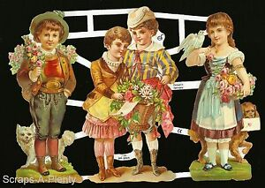 German Victorian Style Embossed Scrap Die Cut -Flowers, Children In Love EF7188