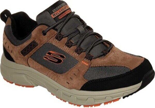 Nuevo Para Hombre Skechers Relaxed Fit Roble Canyon Marrón Negro de cuero de gamuza Zapatos para correr