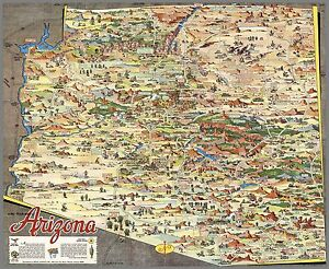 Map Of Arizona Historical Sites.Details About 1929 Pictorial Map Arizona Town Cities Landmarks Historical Points 8252003